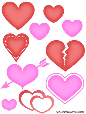 hearts to print for cards