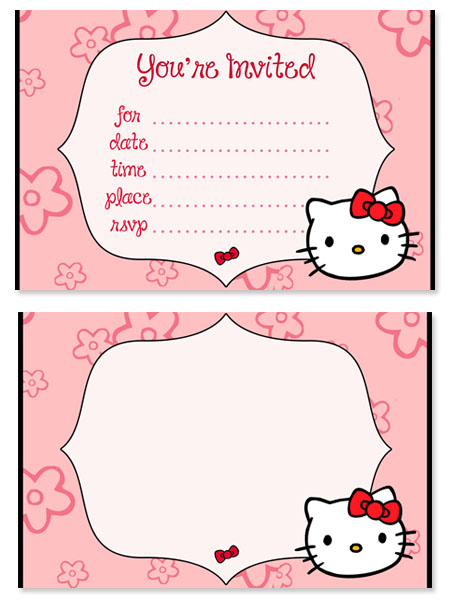 Hello Kitty Birthday Party Invitations for Kids Printable Treats – Hello Kitty Printable Birthday Card