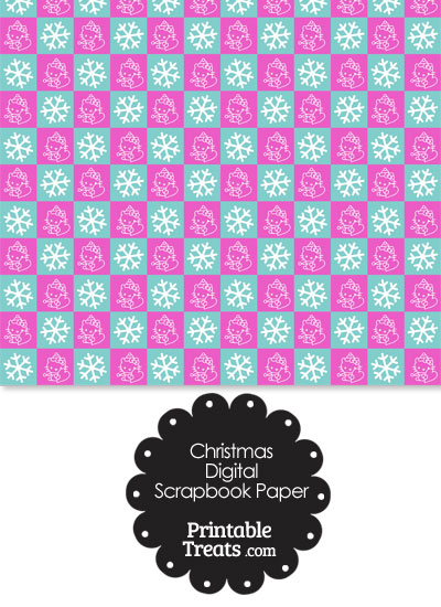 Hello Kitty Christmas Checkered Digital Scrapbook Paper Printable