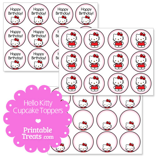 Hello kitty cupcake topper printable printable for Hello kitty cupcake topper template