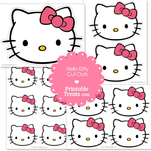 Hello kitty head cut out with pink bow printable for Hello kitty cut out template