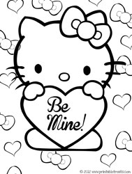 hello kitty valentines coloring pages - Valentine Coloring Sheets