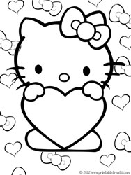 Hello Kitty Valentines Coloring Pages Printable Treatscom