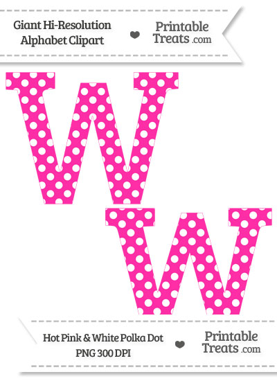 Hot Pink Polka Dot Letter W Clipart from PrintableTreats.com
