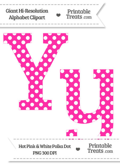 Hot Pink Polka Dot Letter Y Clipart from PrintableTreats.com