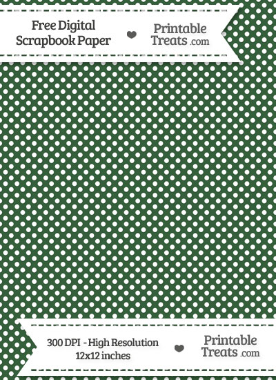 Hunter Green Raised Mini Polka Dots Digital Paper from PrintableTreats.com