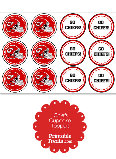 Kansas City Chiefs Cupcake Toppers from PrintableTreats.com
