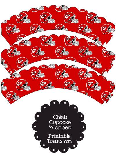 Kansas City Chiefs Football Helmet Scalloped Cupcake Wrappers from PrintableTreats.com
