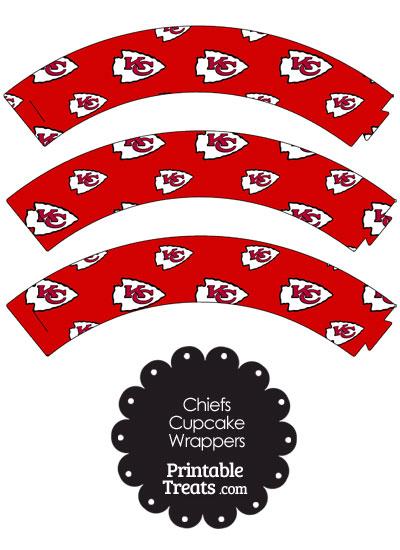 Kansas City Chiefs Logo Cupcake Wrappers from PrintableTreats.com