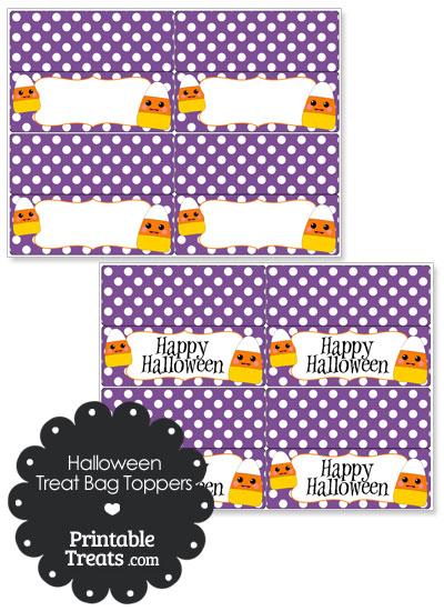Kawaii Candy Corn Treat Bag Toppers from PrintableTreats.com