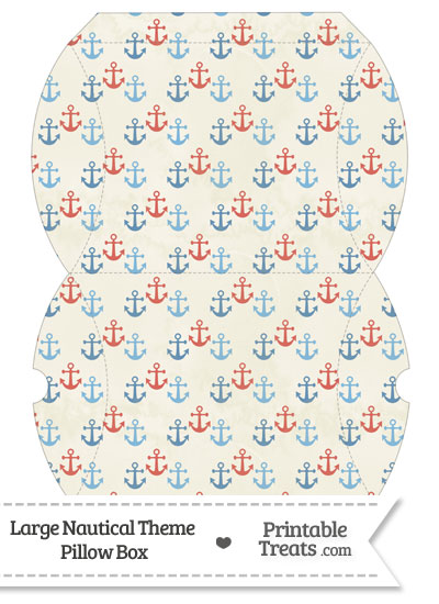 Large Vintage Red and Blue Anchors Pillow Box from PrintableTreats.com