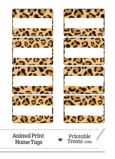 Leopard Print Name Tags Printable Treats Com