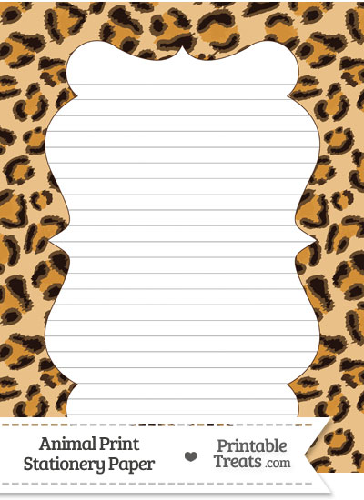 Leopard print stationery paper printable treats com 400x550