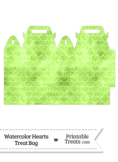This light green watercolor hearts treat bag is decorated with a ...