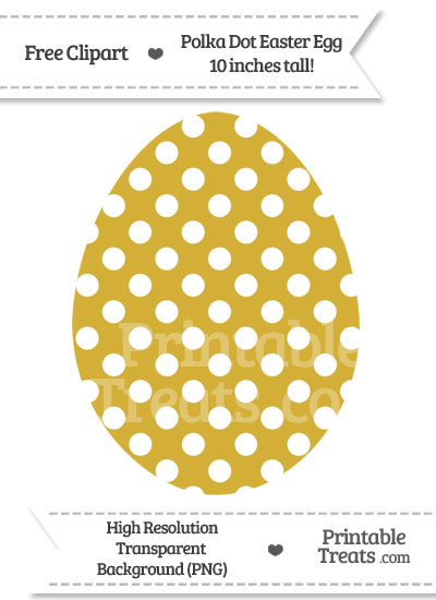 Metallic Gold Polka Dot Easter Egg Clipart from PrintableTreats.com