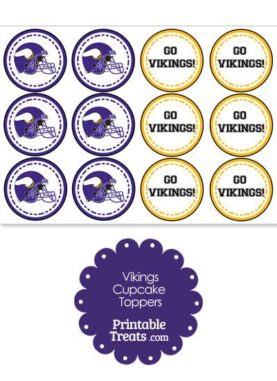 photograph about Minnesota Vikings Printable Schedule titled Minnesota Vikings Cupcake Toppers Printable