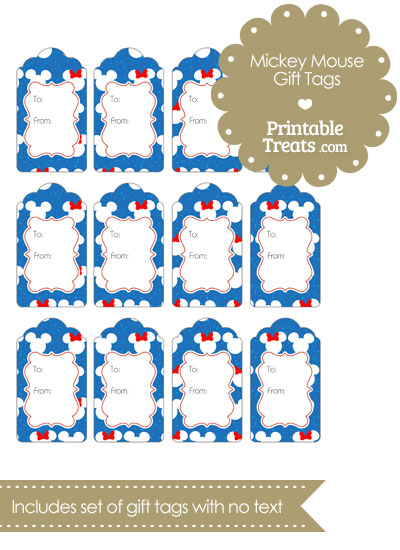 Minnie and Mickey Snow Theme Gift Tags from PrintableTreats.com