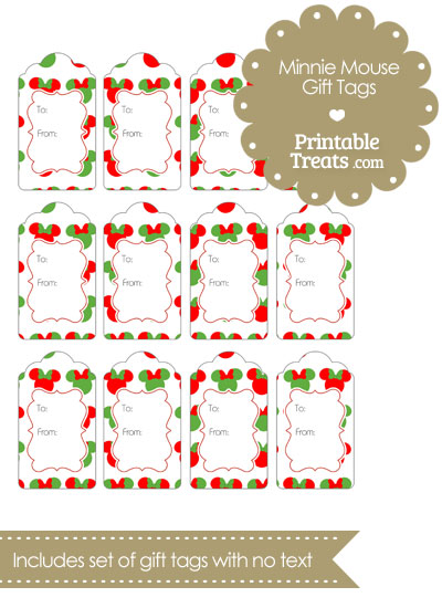 minnie mouse christmas gift tags  u2014 printable treats com