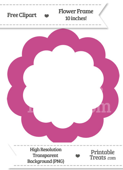 Mulberry Purple Flower Frame Clipart from PrintableTreats.com