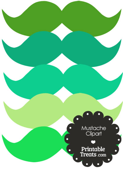 Mustache Clipart in Shades of Green from PrintableTreats.com
