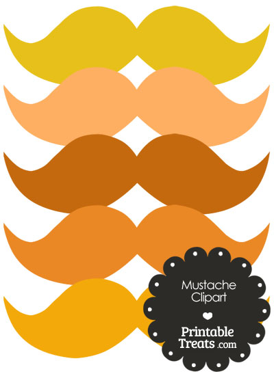 Mustache Clipart in Shades of Orange from PrintableTreats.com