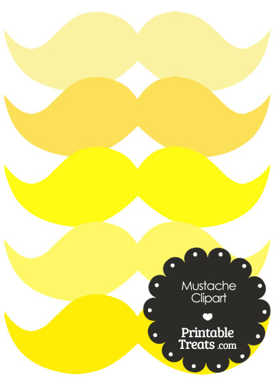 Mustache Clipart in Shades of Yellow from PrintableTreats.com