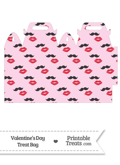 Mustache Kiss Treat Bag from PrintableTreats.com