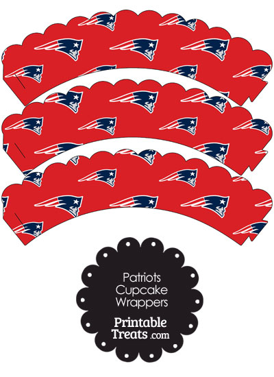 New England Patriots Logo Scalloped Cupcake Wrappers from PrintableTreats.com