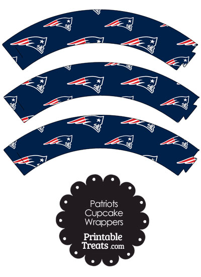 New England Patriots Logo with Blue Background Cupcake Wrappers from PrintableTreats.com