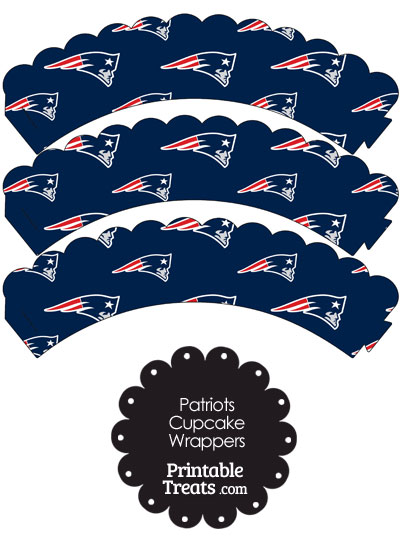 New England Patriots Logo with Blue Background Scalloped Cupcake Wrappers from PrintableTreats.com