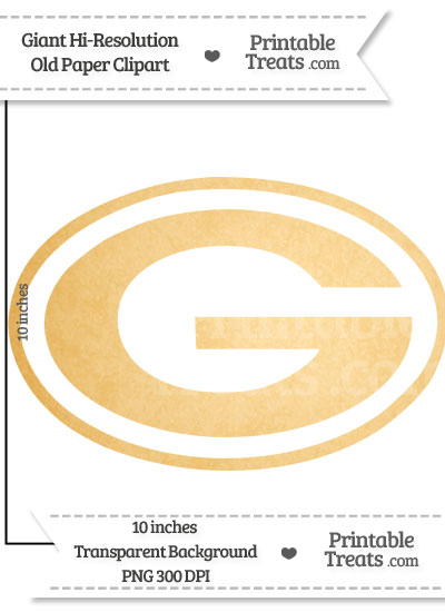 Old Paper Giant Green Bay Packers Logo Clipart from PrintableTreats.com
