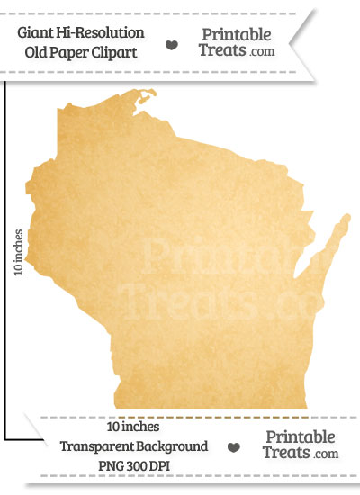 Old Paper Giant Wisconsin State Clipart from PrintableTreats.com
