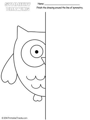 owl symmetry drawing worksheet