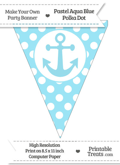 Pastel Aqua Blue Polka Dot Pennant Flag with Anchor from PrintableTreats.com
