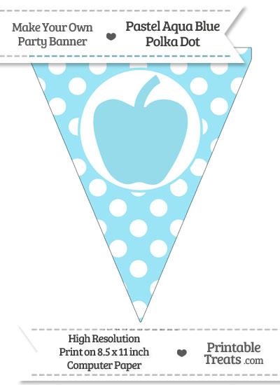 Pastel Aqua Blue Polka Dot Pennant Flag with Apple from PrintableTreats.com