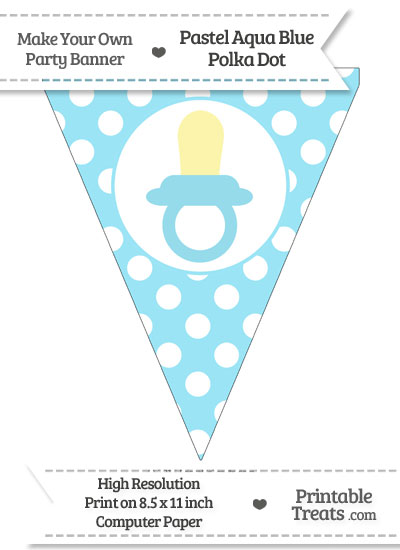 Pastel Aqua Blue Polka Dot Pennant Flag with Baby Pacifier from PrintableTreats.com