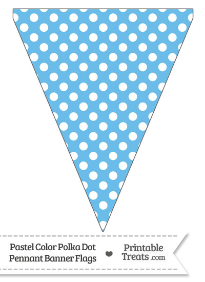 Pastel Blue Polka Dot Pennant Banner Flag from PrintableTreats.com