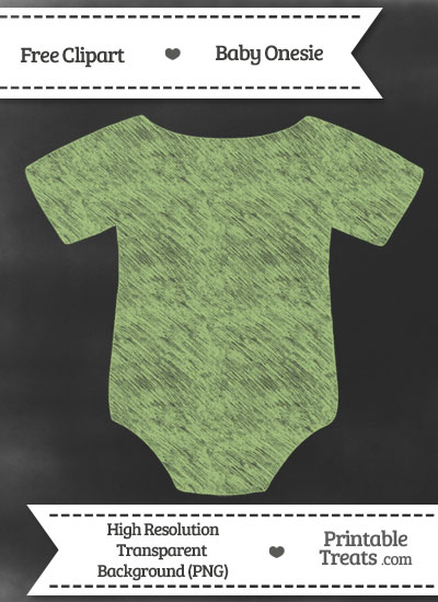 Pastel Light Green Baby Onesie Chalk Clipart from PrintableTreats.com