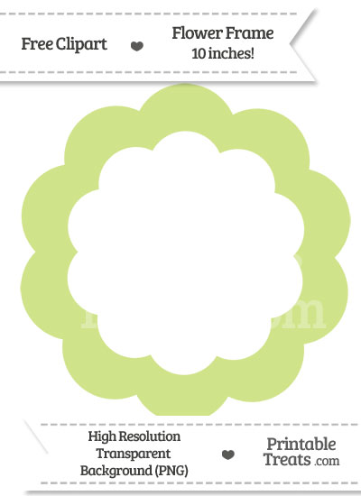 Pastel Lime Green Flower Frame Clipart — Printable Treats.com