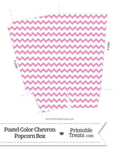 Pastel Pink Chevron Popcorn Box  Printable Treatscom