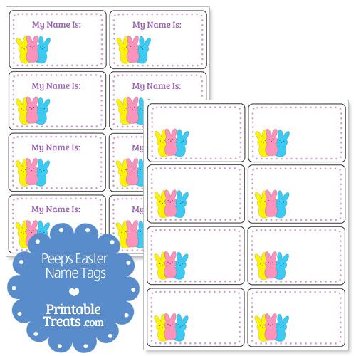 Peeps easter name tags printable for Easter name tags template