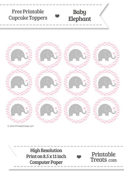 pink chevron baby elephant cupcake toppers  u2014 printable treats com