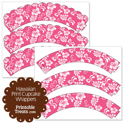 Pink Hawaiian Print Cupcake Wrappers — Printable Treats.com