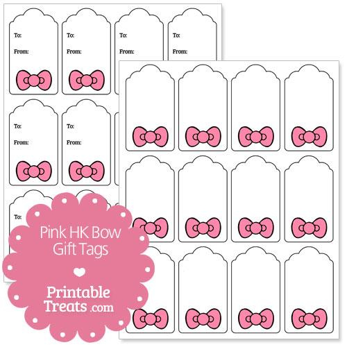 Pink Hello Kitty Bow Gift Tags — Printable Treats.com