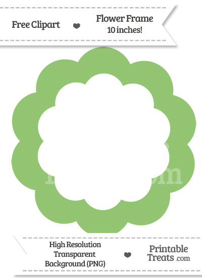 Pistachio Green Flower Frame Clipart from PrintableTreats.com
