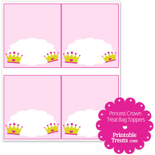 princess crown treat bag toppers