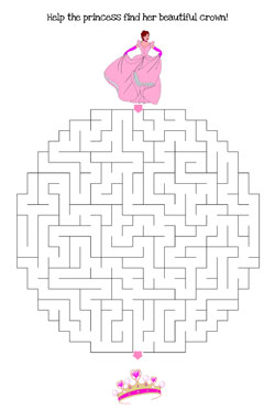 princess maze printable hard