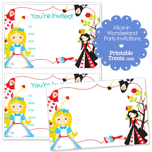 Printable Alice In Wonderland Invitations Printable Treats Com