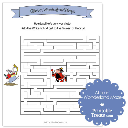 printable Alice in Wonderland maze