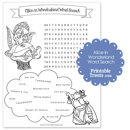 printable Alice in Wonderland word search